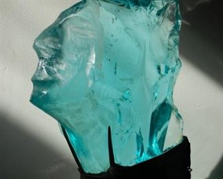 """Polished Glass Sculpture, Suzanne Pascal, b.1914, 8""""h,"""