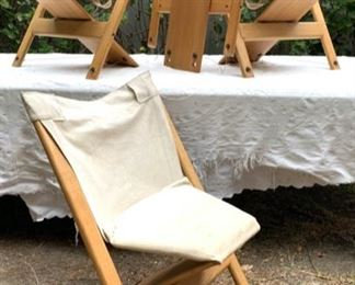 Mid-Century Modern Oak and Canvas Folding Chairs
