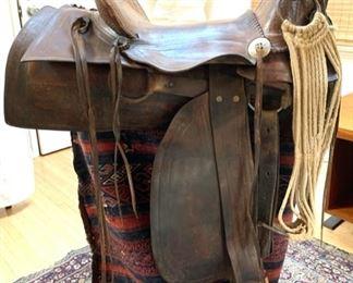Antique (1874-1878) Western Saddle by German Maker HH Heiser, Denver Colorado