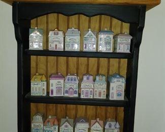 Spice rack full of vintage spice jars
