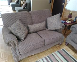 One of two piece matching  fabric loveseat and couch