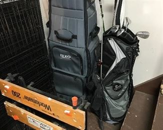 Workmate, large portable pet crate and golf clubs with golf bag carrier