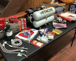 Hitachi air compressor, plumbing and electrical tools, propane torch and a variety of drill bits