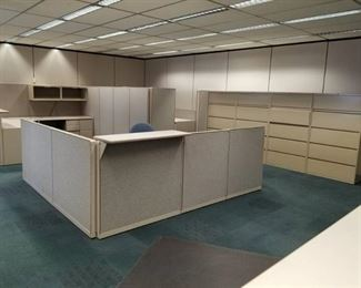      Build an Office     Steelcase Cubicles, Office Chairs, Conference Table, Lateral Cabinets, Whiteboards, Walls, Clocks, Carpet Tile, Mini Blinds, , Filing Cabinet, Desks     See Video Walk-through     Take as much as you want!!!!