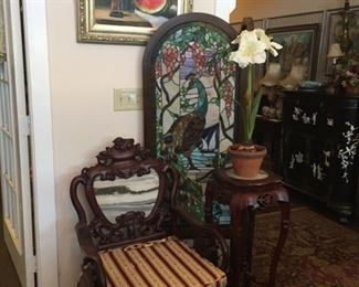 Peacock Screen and chair