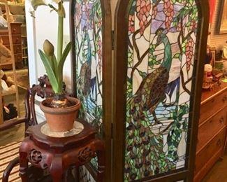 Peacock screen with silk amaryllis