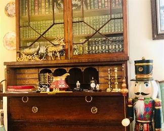 19th Century Secretary filled with Leather Bound Books!