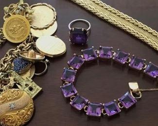 14k Amethyst Bracelet & Ring. 14k Charm Bracelet.