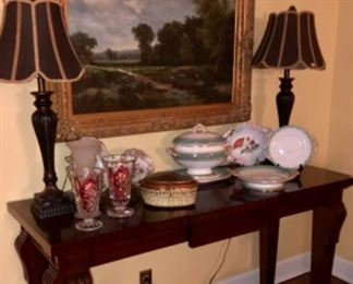 Landscape Painting with no signature, serving table, china piece padded down through the PEAY family