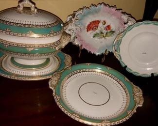 Antique soup tureen, under plate pedestal cake plate