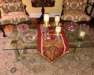 Glass top coffee table, Waterford crystal and Other Crystal pieces