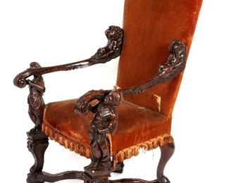19th C Italian Figural Carved Chair