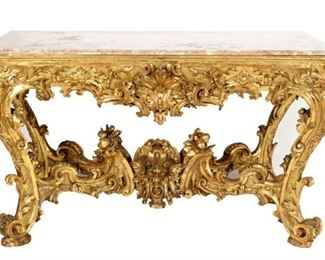 18th 19th C Carved Gilt Wood Console Table