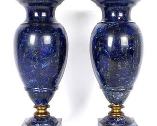 19th C Pr Lapis Lazuli Clad Garniture Urns