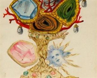 1954 Salvador Dali Watercolor