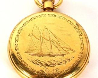 1870 Racing Schooner Meteor Gold Pocket Watch