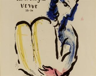 1956 Marc Chagall Moses Pencil Signed Lithograph