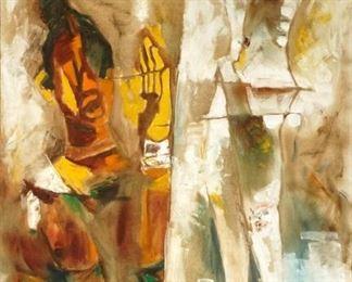 1967 Maqbool Fida Husain Acrobats OilCanvas