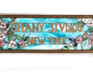 After Tiffany Studios Leaded Glass Display Sign
