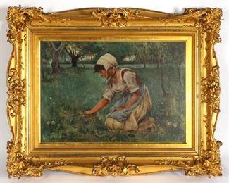 Charles Sprague Pearce Girl in Field Painting