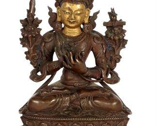 Chinese Qing Seated Bronze Buddha