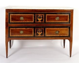 Continental Inlaid Marble Top Commode