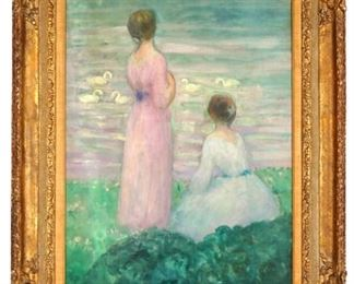 Henri Lebasque Women at Waters Edge Oil Painting