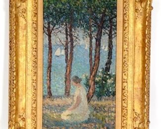 HenriJean Martin Girl in the Park Oil Painting