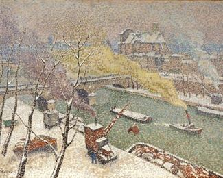Jacques MartinFerrieres Snow on the Seine OilCan