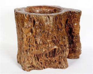 Large Chinese Natural Root Wood Brush Pot