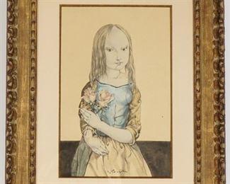 Leonard Foujita Young Girl with Roses Watercolor