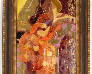 Mahmoud Sabzi Woman With Lute Painting