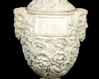 Neoclassical Carved Marble Covered Urn