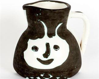 Pablo Picasso 1956 Madoura Tetes Ceramic Pitcher
