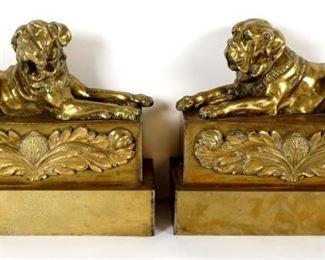 Pr Cast Brass Figural Mastiff Dog Chenets