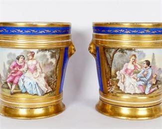 Pr French Sevres Style Porcelain Cache Pots