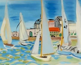 Sailboat Race Gouache Signed Raoul Dufy