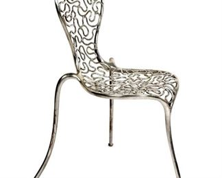 Signed Cast Aluminum Side Chair