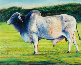 Stephen Moore Exhibited Brahma Bull Painting