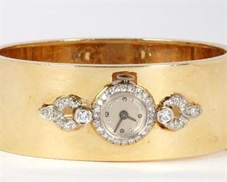 14k Gold Diamond Hinged Cuff Bracelet Watch