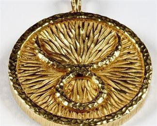 David Webb 18k Gold Taurus Zodiac Pendant Brooch