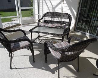 4 piece patio set, resin wicker