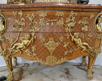 Fine Louis XV Style Chest w/ nearly 3 dimensional Cherubs