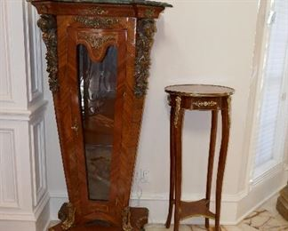 Pr. Fine French Style Pedestals w/ display and pr. gilt trim pedestal tables