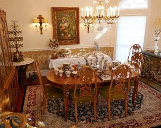 Fine Romweber Dining Room Suite, Vintage Chandelier, Llladro and treasures for all