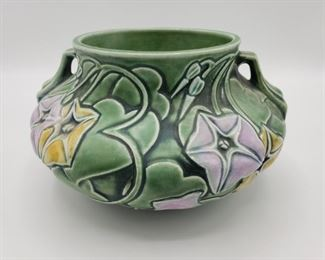 Vintage Roseville Morning Glory Green Ceramic Bowl https://ctbids.com/#!/description/share/280834