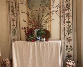 Antique wallpaper panels x 4. NOT framed.