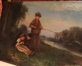 Antique oil painting with frame- listed artist.