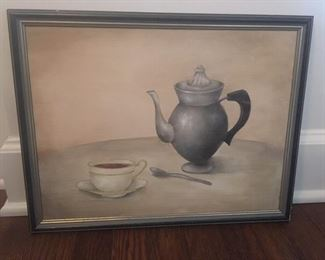 Original painting with coffee pot and cup/saucer