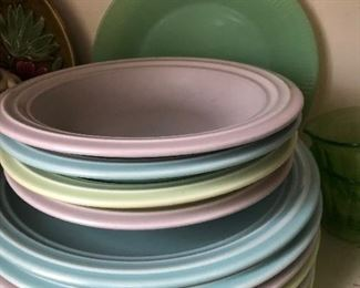 Pfaltzgraph pastel dishes with coffee cups